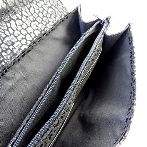 Frandi [M3567] - Sac pochette cuir 'Frandi' noir (2 soufflets) Léopard