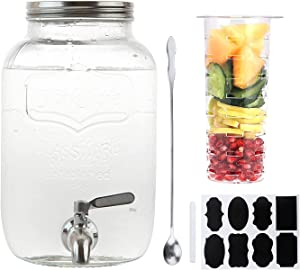 1-Gallon Glass Beverage Dispenser,Accguan Drink Dispenser with Tin Lid and Leak Free Spigot,Mason Drink Dispenser for Parties, Picnics, Barbecues and Daily,1 pack