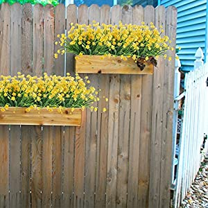 HOGADO Artificial Fake Flowers, 4pcs Faux Yellow Daffodils Greenery Shrubs Plants Plastic Bushes Indoor Outside Hanging Planter Wedding Cemetery Decor 4