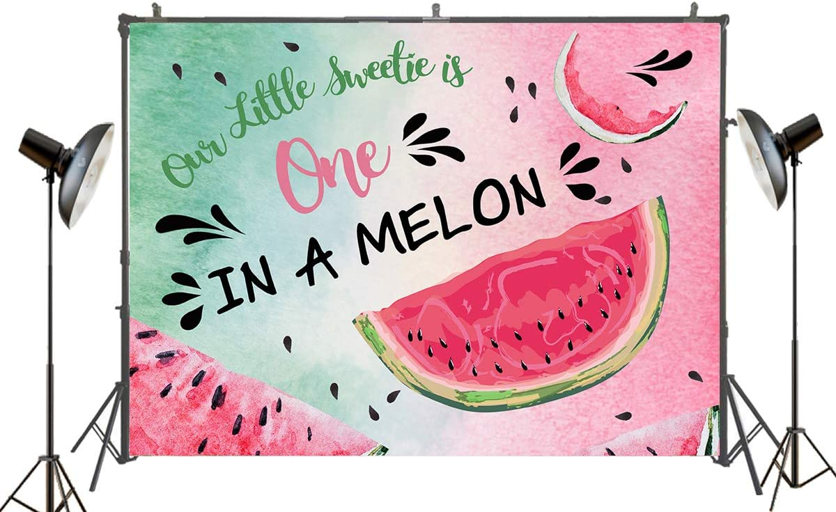 Sensfun Watermelon Backdrop One in a Melon Party Decorations First Birthday Photo Booth Banner Summer Fruit Cart Theme Photography Background for Girls Boys Newborn Baby Shower Cake Table Decor 8x6ft