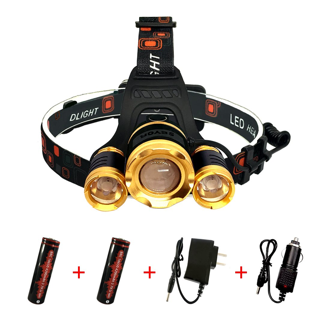 SEYOR Ultra Bright LED Headlamp 4 Mode Zoomable Focus Headlight with Rechargeable 18650 Battery(X2) and Charger(x2) for Camping Fishing Riding Hiking Reading