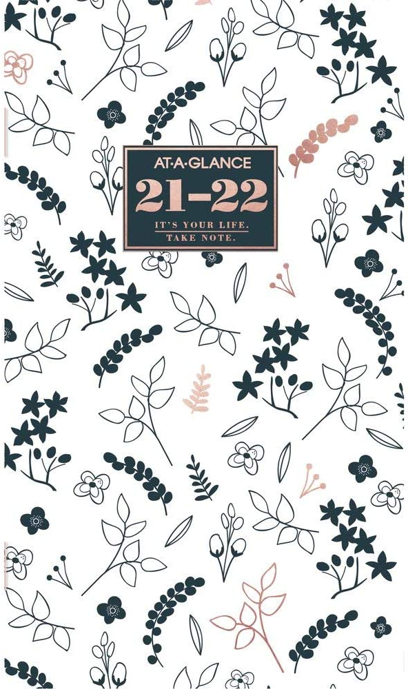 """2021-2022 Pocket Calendar by AT-A-GLANCE, 2 Year Monthly Planner, 3-1/2"""" x 6"""", Pocket Size, Badge Floral (1450L-021-21)"""