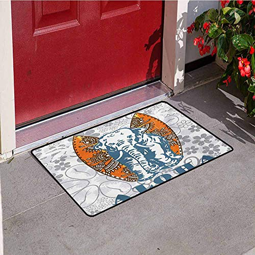 - Jinguizi Elephant Inlet Outdoor Door mat Surfboards and Elephant Floral Backdrop Aloha Athlete Sports Catch dust Snow and mud W31.5 x L47.2 Inch Slate Blue Pale Grey Orange