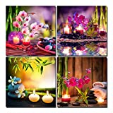 Yang Hong Yu Canvas Prints Stones Flowers Candle and Bamboo on Water SPA Theme Photo on Canvas Wall Art Framed Modern Decor Paintings Giclee Artwork for Home Decoration 12x12inch