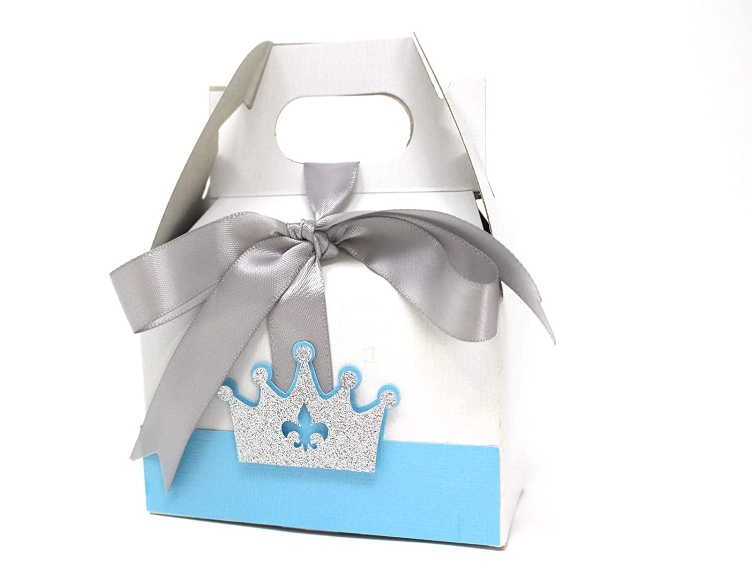 Gift Box Birthday Baby Shower Light Blue /& Silver 10sets Party Decoration Gable Box All About Details Prince Crown Theme Favor Box