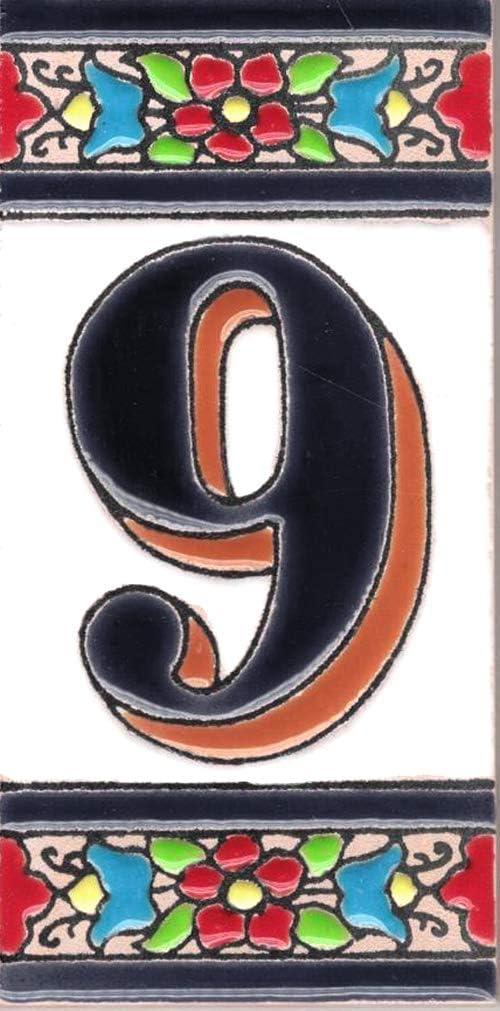 TORO DEL ORO N/úmeros casa Numeros y Letras en azulejo Ceramica esmaltada Dise/ño Flor Mediana 5,5x10,5 cm Nombres y direcciones Pintados a Mano t/écnica Cuerda Seca N/úmero uno1