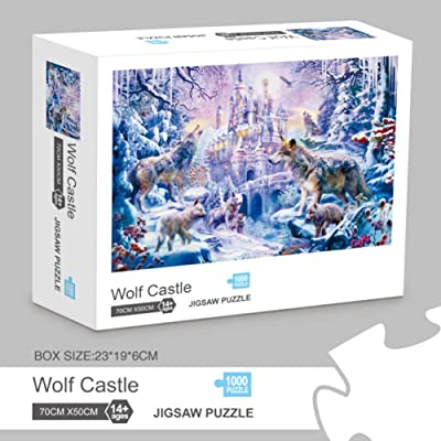 Jigsaw Puzzles 1000 Pieces for Adults Kids Floor Puzzle Intellectual Game Learning Decompression Toys Wolf Castle Paper Jigsaw Puzzle: Toys & Games