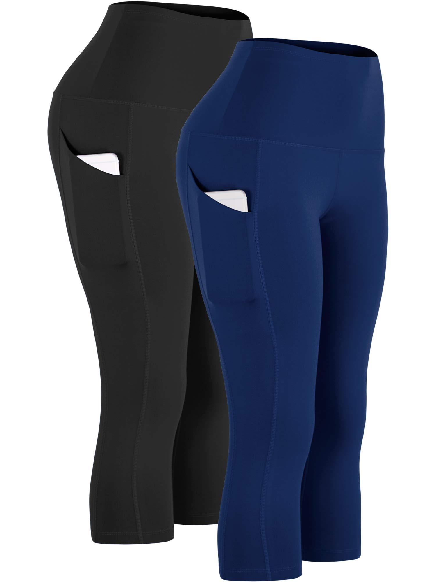 Cadmus Womens High Waist Workout Legging Capris for Yoga w Side Pockets,1109,Black & Navy Blue,Large by Cadmus