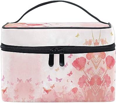Acuarela Fondo de Mariposas Día de la Madre Maquillaje Estuche de Tren con Cremallera portátil Bolsa de Cepillo cosmético Almacenamiento: Amazon.es: Equipaje