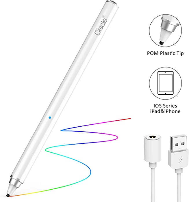 Stylus Pencil Compatible for Apple, CISCLE Rechargeable 1.5 mm Fine Tip Smart Digital Pen Active Stylus Work for iPad, iPhone, Android Tablet and Other Touch Screen Devices, Good for Drawing&Writing