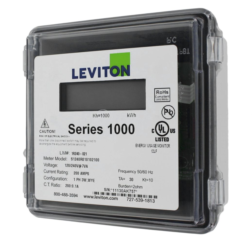 Leviton 1R240-21 Series 1000, Dual Element Meter, 120/208/240V, 2PH, 3W, 200:0.1A ratio, Max 200A, Small Outdoor Enclosure, Gray