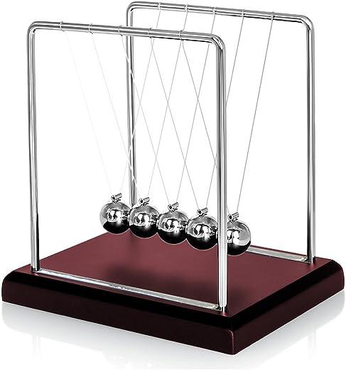 Oruuum Classic Newton Pendulum Ball - Brown Wooden Base, Balance Ball, Desktop Entertainment Gadgets – Medium.