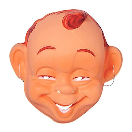 Máscara de bebé sonriente y feliz típica cara niño contento plástico careta carnaval