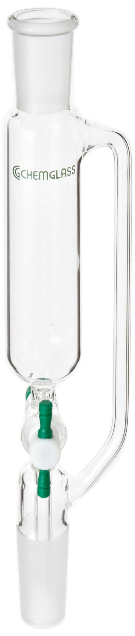 Chemglass CG-1702-01 Glass Cylindrical Style Addition Funnel, with 2mm PTFE Stopcock, 60mL Capacity