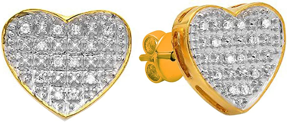 Mens Ladies Yellow Gold Finish 0.10CT Diamond Heart Fashion Stud Earrings