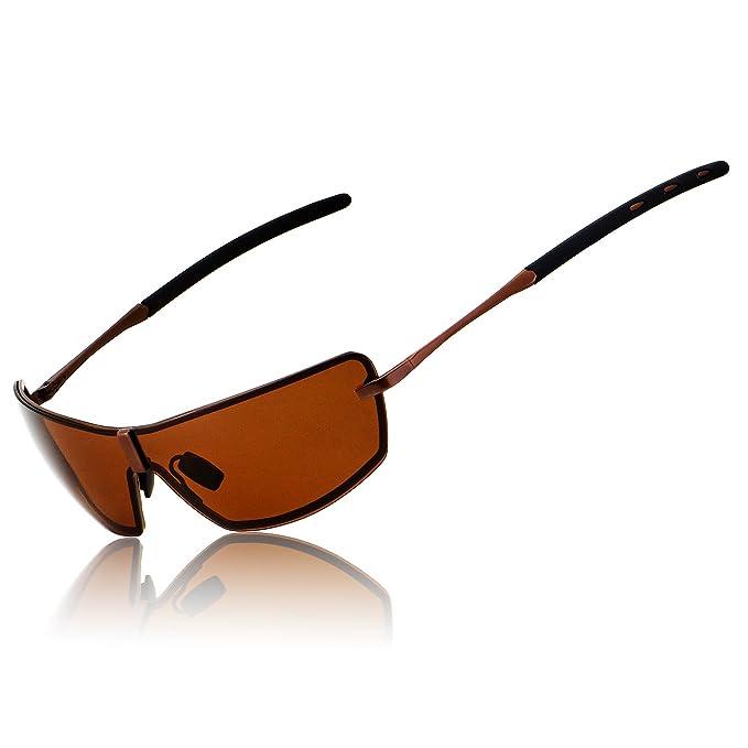 RONSOU Hombres UV400 Gafas de Sol Polarizadas Mirrored Para Conducir Pesca Golf Al Aire Libre Caja de Regalo café marco/café lente: Amazon.es: Ropa y ...