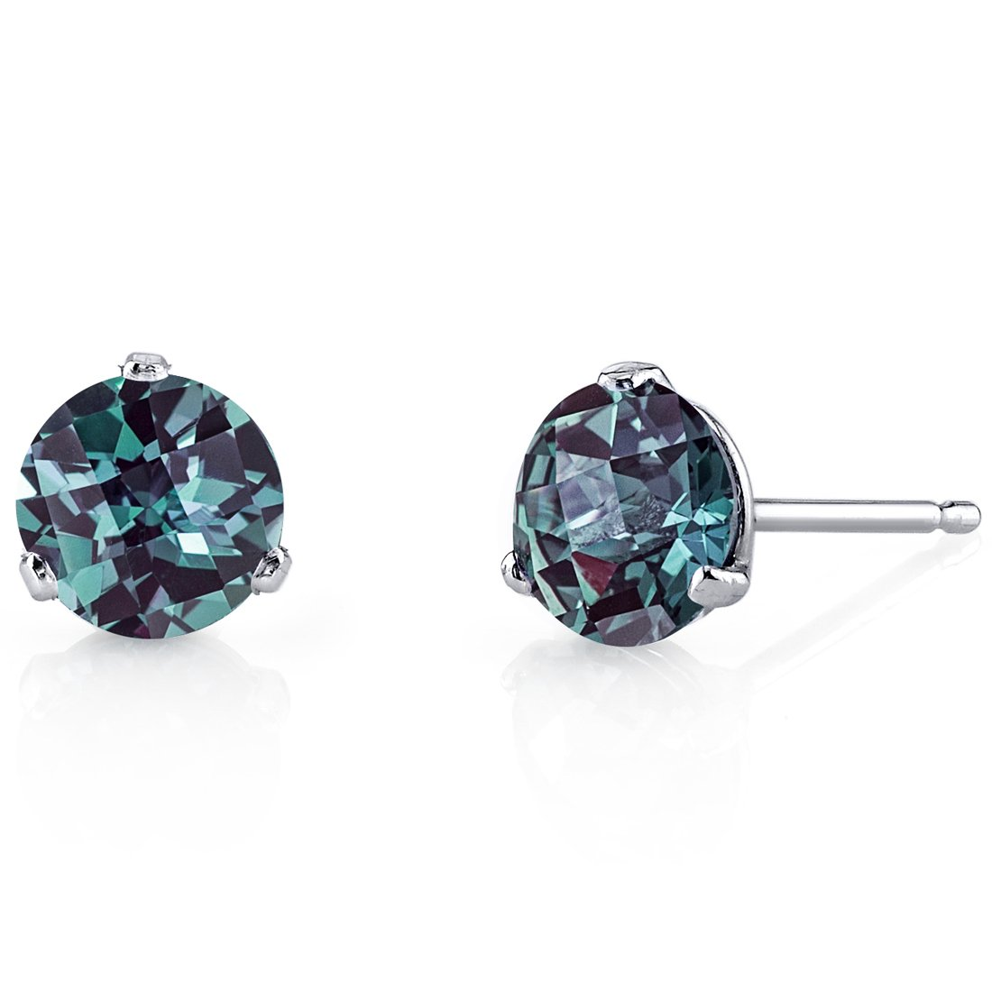 14 Kt White Gold Martini Style Round Cut 2.00 Carats Created Alexandrite Stud Earrings by Peora