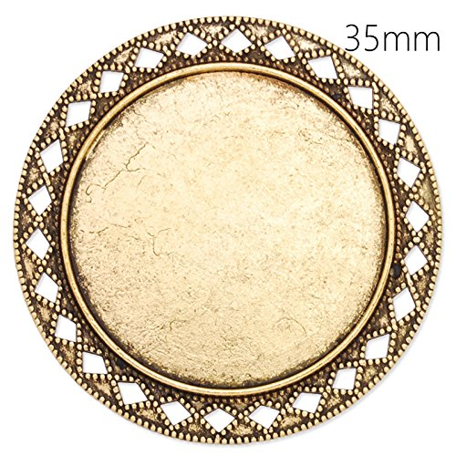 35mm Round Blank Bezel Antique Gold Plated Brooch Findings-Safety Pin Fastening-10pcs