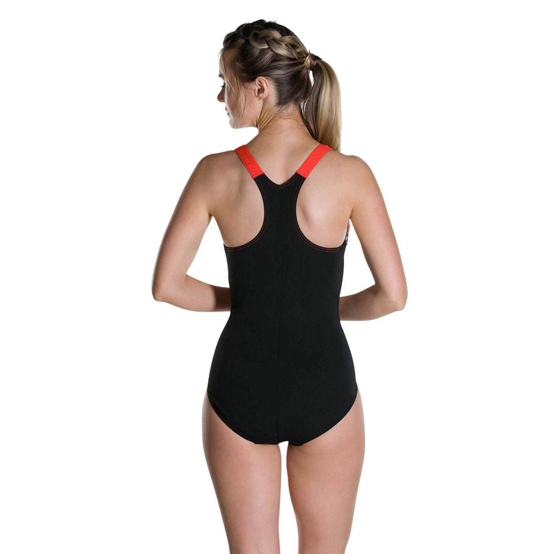 Black Speedo Womens Boom Splice Racerback Swimsuit Hot Orange