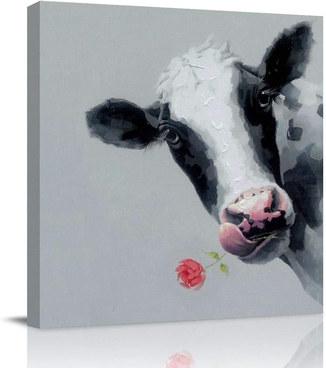 Square Canvas Print Wall Art for Bathroom/Kitchen Wall Decor Cow Oil Paintings Cattle Picture on Canvas for Nursery Kids Bedroom Giclee Print Gallery Wrap Framed and Ready to Hang-12x12in