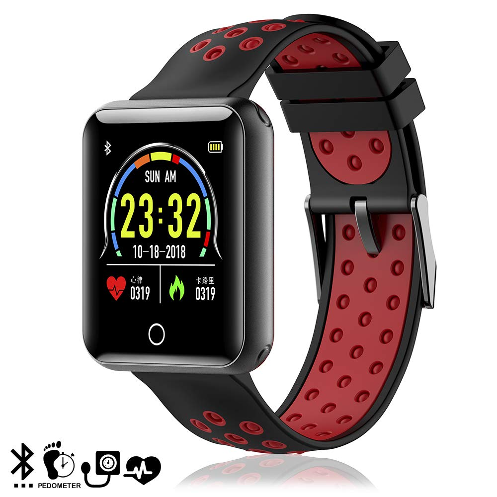 DAM Q19 - Brazalete Inteligente Bluetooth 4.0, Color Rojo y Negro