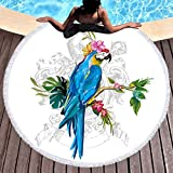 Sleepwish Parrot Beach Towel Bird Round Tablecloth Meditation Mat Roundie Tapestry Round Yoga Mat (Macaw with Morning Glory, 60'')