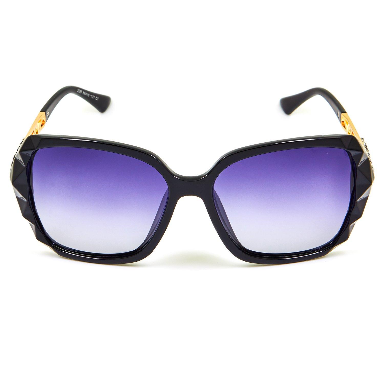 fd2f54f7d05 Amazon.com  Leckirut Women Shades Classic Oversized Polarized Sunglasses  100% UV Protection Eyewear back frame gray lens  Clothing