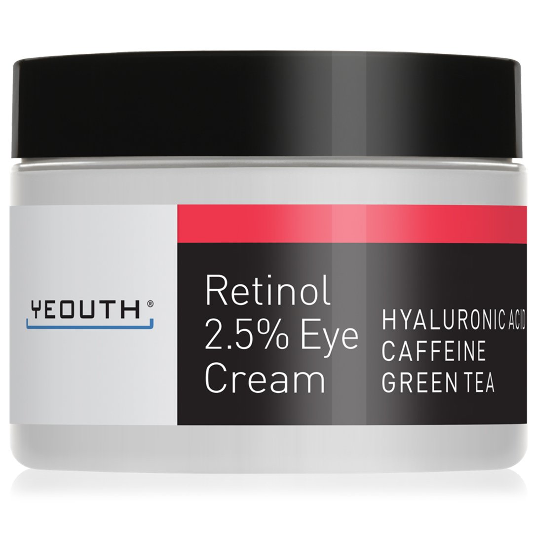 Retinol Eye Cream 2.5% from YEOUTH Boosted w/Retinol, Hyaluronic Acid, Caffeine, Green Tea, Anti Wrinkle, Anti Aging, Firm Skin, Even Skin Tone, Moisturize and Hydrate - Guaranteed