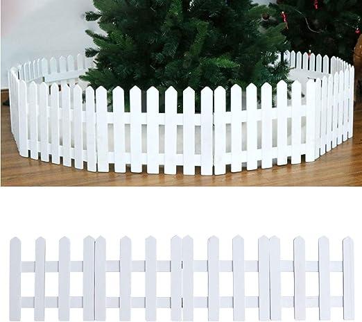 DOITOOL 1 Piezas 1 2 m Madera árbol de Navidad Valla Decorativa Navidad Blanco piquete jardín Valla para Navidad árbol de Navidad Boda Fiesta decoración (Blanco): Amazon.es: Jardín