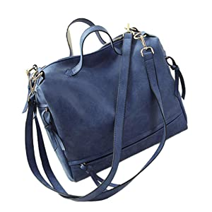 Elevin(TM)Fashion Women Messenger Vintage Nubuck Leather Motorcycle Retro Shoulder Bags Crossbody Bag (Blue)