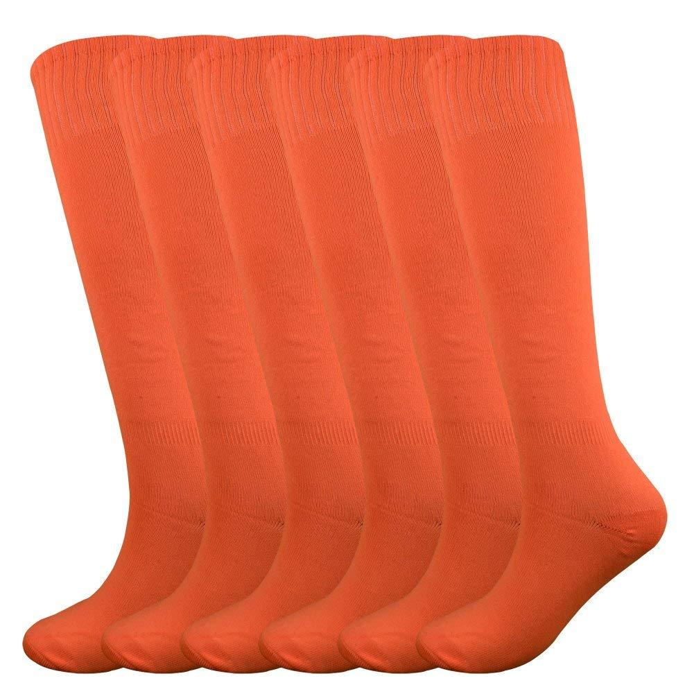 Fitliva Softball Socks Knee High Sports Socks Adult and Adolescence Casual Wear Socks(6Pack-Neon Orange) by Fitliva