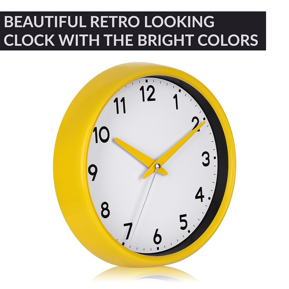 Amazon.com: Clock, Silent Non-ticking Wall Clock with Camber Surface ...