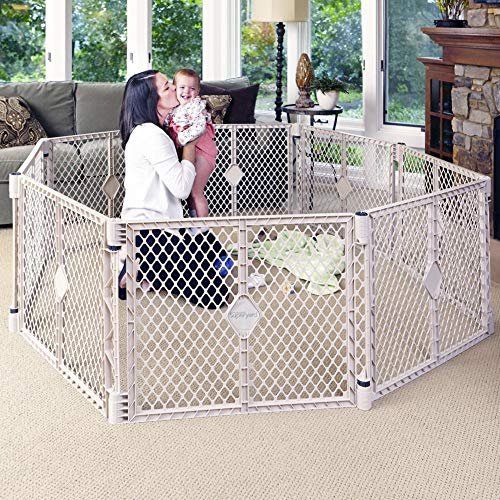 "Toddleroo by North States Superyard 8-Panel Play Yard: Safe play area anywhere - Folds up with carrying strap for easy travel. Freestanding. 34.4 sq. ft. enclosure (26"" Tall, Sand)"