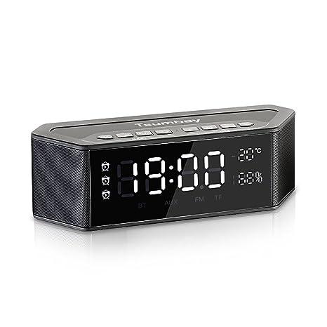 Home Decor Alarm Clocks Wireless Digital Alarm Clock Bt Home Rechargeable Mini Display Tf Card Fm Audio Input Bass Speaker Sound Box Punctual Timing