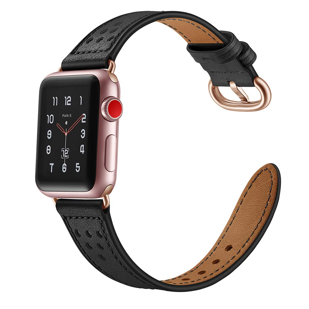 For Apple Watch Band 38mm Leather, Aottom 38mm Apple Watch Bands Leather Replacement Band Wrist Band Metal Buckle Clasp Smart Watch Band Bracelet Wristband for 38mm iWatch Bands Series 3/2/1 - Black