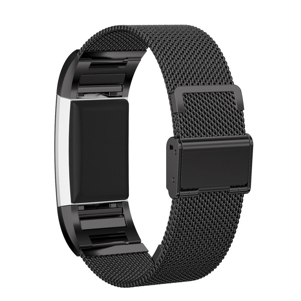 AloneA Milaneseクイックリリースステンレススチール時計バンドストラップfor Fitbit Charge 2 ブラック ブラック B01M0J7Q2D