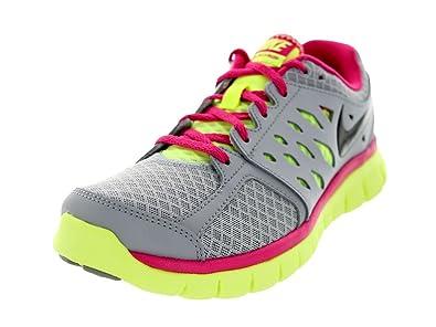 0d121af64c2c Nike Womens Flex 2013 RN Running Sneakers Wolf Grey Volt Ice Vivid Pink