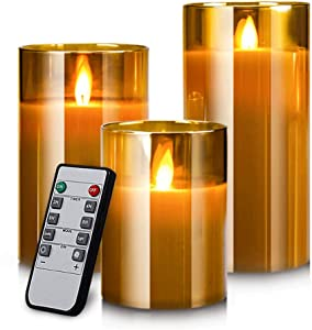 "Yinuo Mirror LED Flameless Candles, Battery Operated Flickering Candles Pillar Real Wax Moving Flame Electric Candle Sets Gold Glass Effect with Remote Timer, 4"" 5"" 6"" Pack of 3"