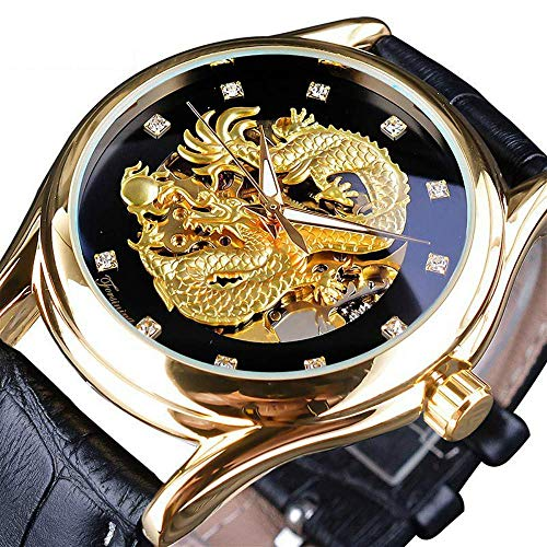 - Men's Dragon Collection Forsining Limited Luxury Carved Dial Golden Mechanical Waterproof Wrist Watch (Gold Black)