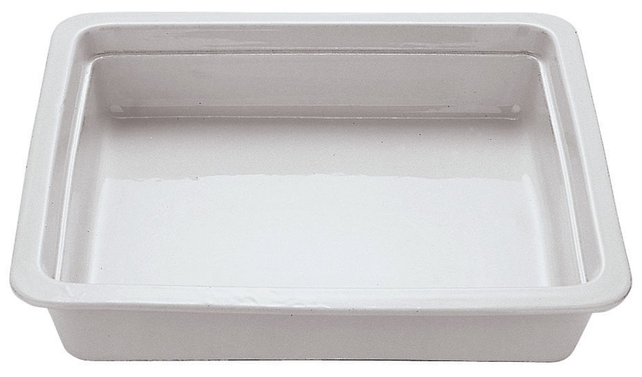 Paderno World Cuisine 14 inches by 12 1/2 inches Porcelain Hotel Food Pan - 2/3 (depth: 2 1/2 inches)