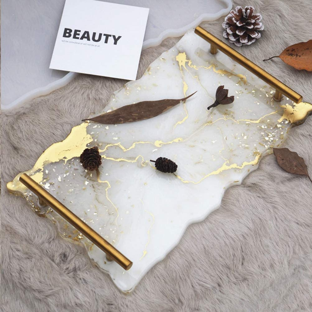 wotu Resin Tray Molds Irregular Agate Platter Silicone Casting Molds with 2pcs Gold Handles for Making Making Agate Platter Tray Fruit Plate Serving Board
