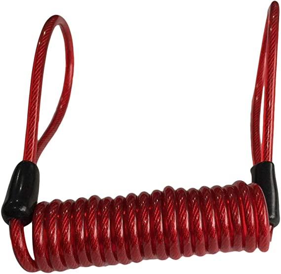 Image ofNoyokere Cable de recordatorio de Seguridad de la Alarma de la Cerradura del Disco de la Motocicleta Reminde Alarma para Bicicleta Scooter Rojo