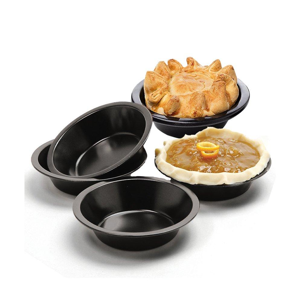 MZCH 4.3 inches Non-Stick Mini Quiche Tart Pan, Tart Pie Pan, Tartlet Set, Black, Set of 5