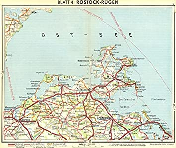 Amazoncom GERMANY Rostock Rgen 1936 old map antique map