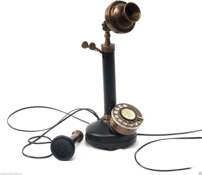 AILISH INTERNATIONAL Handmade Vintage Candlestick Retro Phone Rotary Dial Home Office Decor Working (Brass)