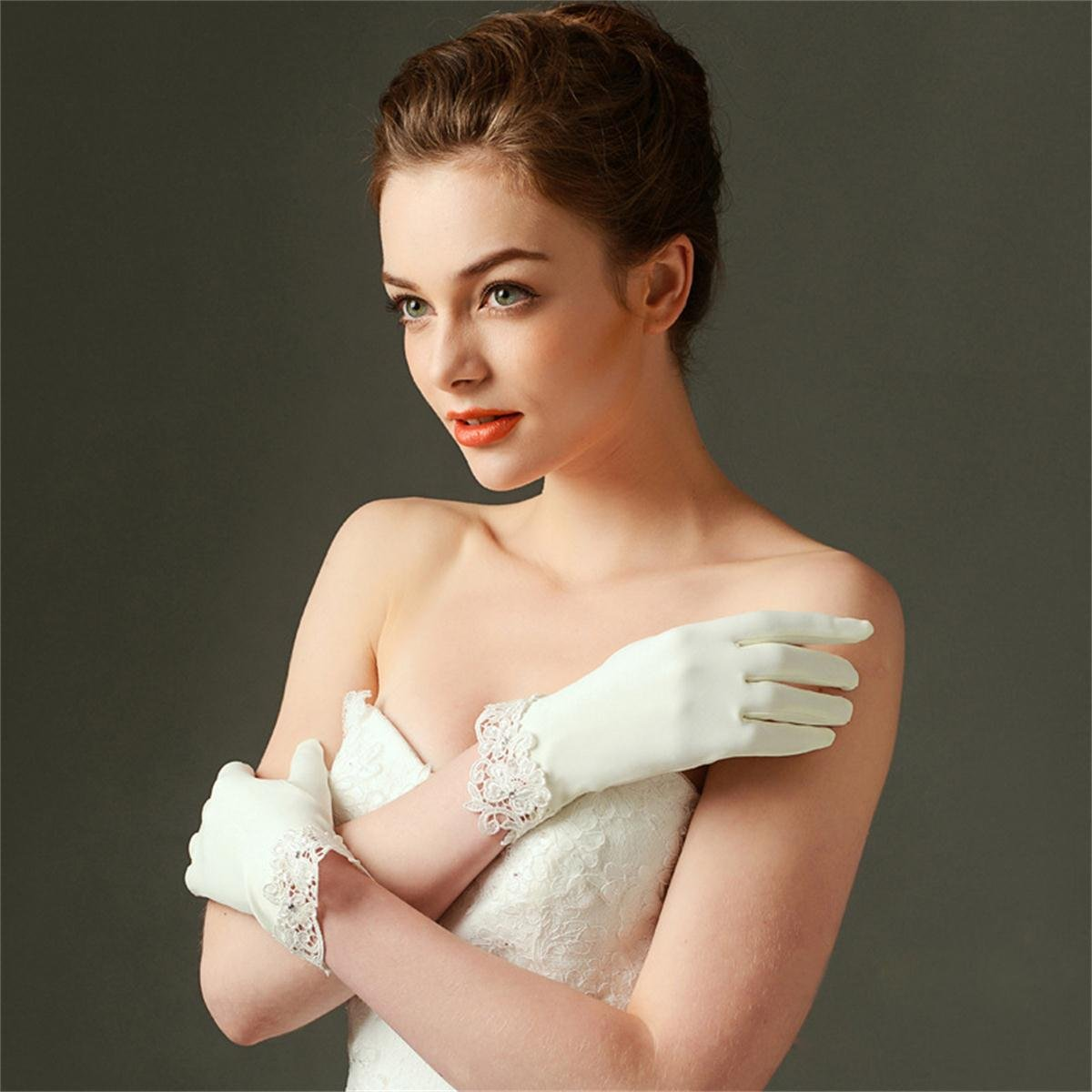 MissDaisy Dull Matte Satin Bride Gloves Ivory Lace Edge Party Short Dress Gloves by MissDaisy (Image #3)