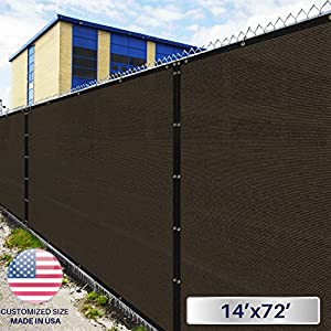 Windscreen4less Fence Privacy Screen 14' x 72', Brown, Heavy Duty Privacy Fencing, Commercial grade 180 GSM, 95% privacy Blockage, Mesh Fabric with brass Gromment, Customized Sizes Available