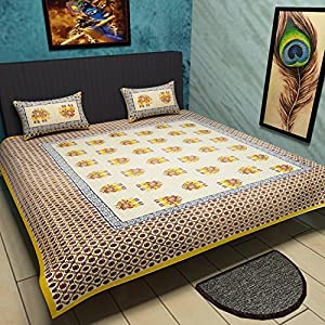 Traditional Mafia Rses7023 Ethnic Collection Printed Double Bed Sheet Set  With 2 Pillow Covers, King, Yellow