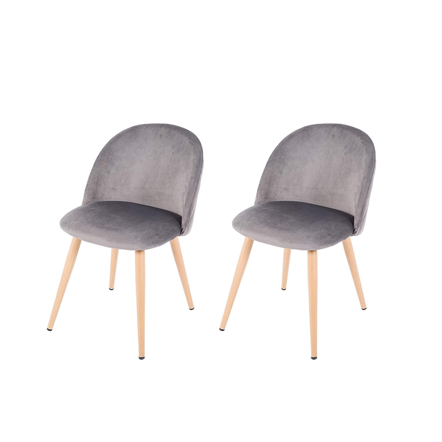NOBPEINT Dining Leisure Chair Velvet Cushion Seat, Set of 2 Gray