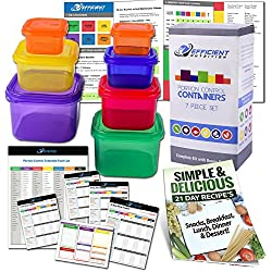 21 Day Efficient Nutrition Portion Control Containers Kit (7-Piece) + COMPLETE GUIDE + 21 DAY PLANNER + RECIPE eBOOK, BPA FREE Color Coded Meal Prep System for Diet and Weight Loss
